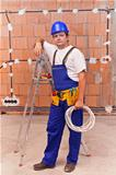 Electrician at work site