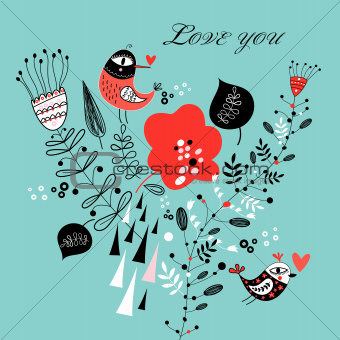 floral greeting card with birds in love