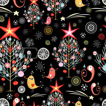 Christmas texture with Christmas trees