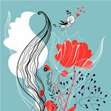 floral card with love bird