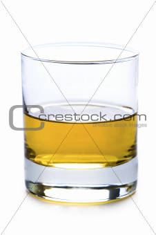 a glass of whisky or whiskey isolated