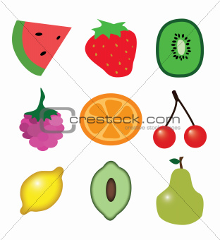9 pieces of fruit