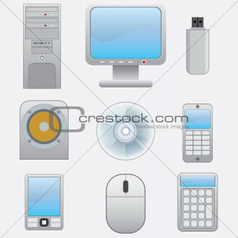 Set of electronic devices.