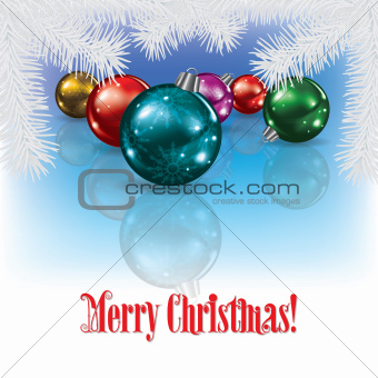 Christmas background with decorations and pine branch
