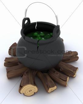 cauldron of eyeballs on log fire