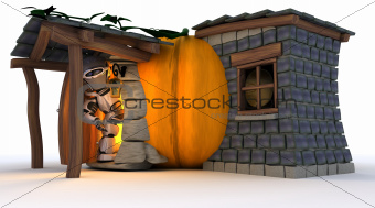 Robot in Halloween Pumpkin Cottage