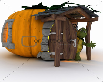 Tortoise in Halloween Pumpkin Cottage