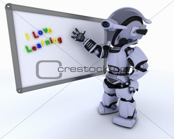 Robot with White class room drywipe marker board