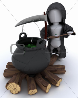 grim reaper with cauldron of eyeballs on log fire