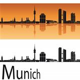 Munich skyline in orange background
