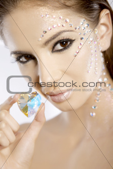 picture of lovely woman with diamond heart