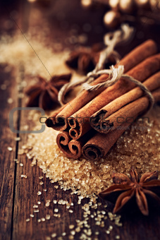 Cinnamon sticks and star anise on brown sugar
