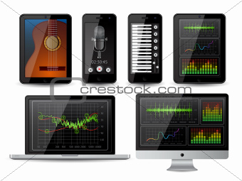 Isolated gadgets with with inphographics elements. EPS10 vector illustration.
