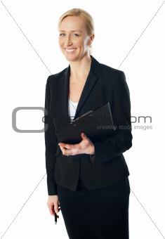 Portrait of beautiful caucasian businesswoman
