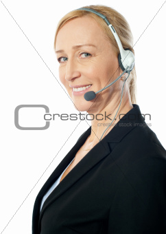 Closeup of a senior telemarker woman