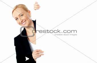 Portrait of a businesswoman holding clipbaord
