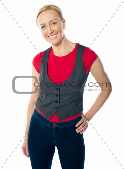 Portriat of smiling gorgeous woman in casuals