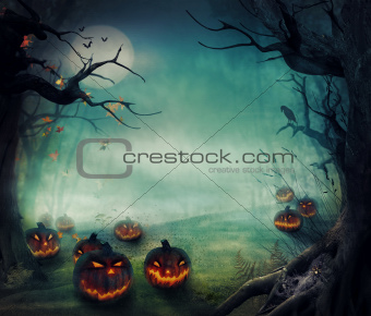 Halloween design - Forest pumpkins