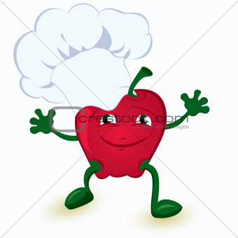 Apple cartoon character in chef hat 