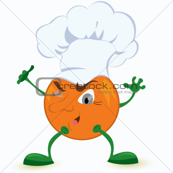 Orange cartoon character in chef hat