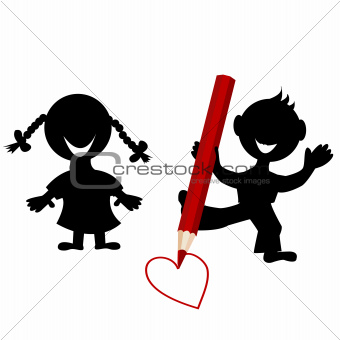 Background with children silhouettes drawing a heart