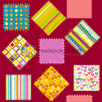 Background with set of colored patterns