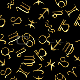 Golden zodiacal signs over black background