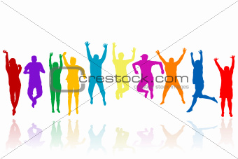 Group of young people silhouettes jumping