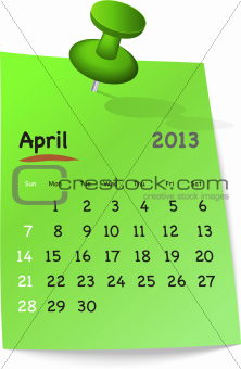 Calendar for april 2013 on green sticky note