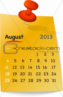 Calendar for august 2013 on orange sticky note