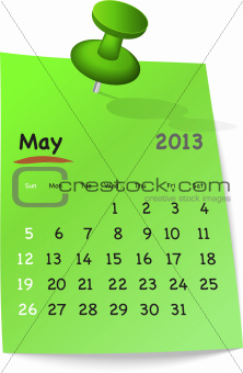 Calendar for may 2013 on green sticky note