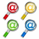 Magnifying glass with email symbol