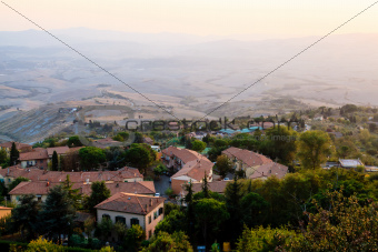 Roofs and Landscape of a Small Town Volterra at Sunset in Tuscan