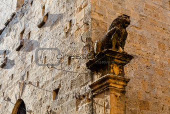 Lion on the House Facade in Volterra, Tuscany, Italy