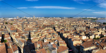 Bordeaux city panorama from St Michel tower