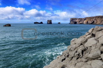 Dyrholeay cliffs and rocks ocean view, Iceland
