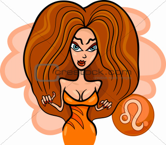 woman cartoon illustration leo sign