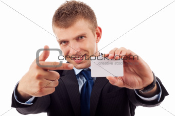 business man shows his business card