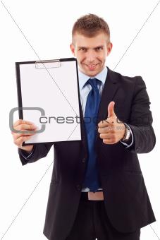 man presenting a clipboard
