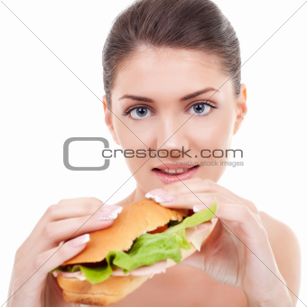 woman holding a sandwich 