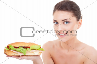 woman holding fresh tasty sandwich