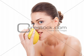 cheerful young lady eating an apple