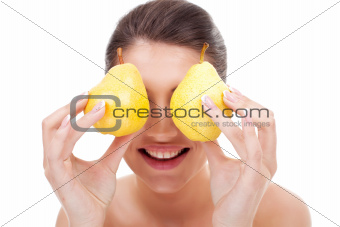 woman with pears over eyes