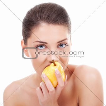 lovely woman eating pear