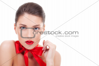 Sexy  Woman Wearing red ribbon