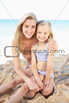 Portrait Of Mother And Daughter On Summer Beach Holiday