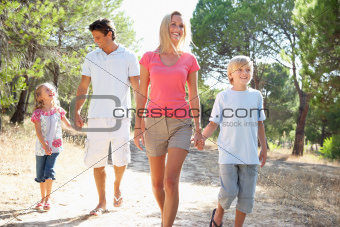 Family, parents and children,walking,walk together in park