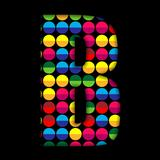 Alphabet Dots Color on Black Background B