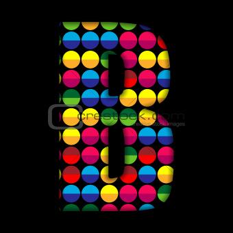 Alphabet Dots Color on Black Background B
