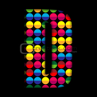 Alphabet Dots Color on Black Background D